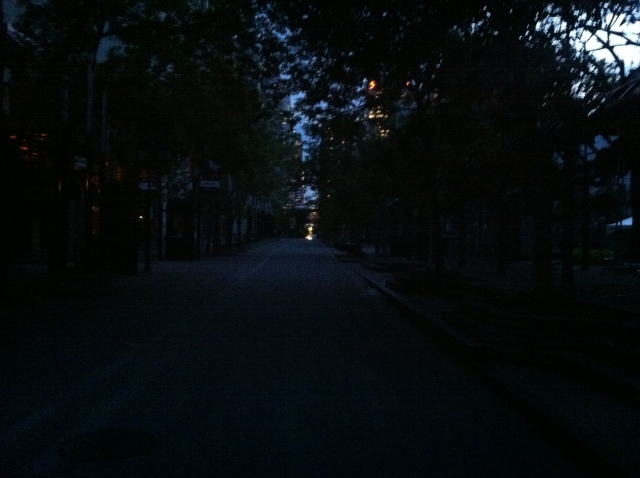 A darkened Stephen Avenue, a normally bustling street, all the electricity gone out.