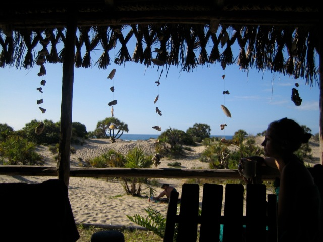 The glorious beach hut at Mozambique - post jelly fish sting.